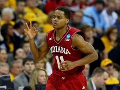 Yogi Ferrell #11 of the Indiana Hoosiers reacts after hitting a shot against the Wichita State Shockers during the second round of the 2015 NCAA Men's Basketball Tournament at the CenturyLink Center on March 20, 2015 in Omaha, Nebraska.  Getty Images