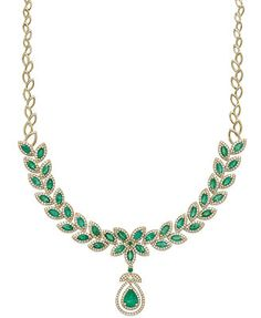 Brasilica by EFFY Emerald (11-3/4 ct. t.w.) and Diamond (2-3/4 ct. t.w.) Pendant Necklace in 14k Gold would be prettier if it was all around... $10k on sale