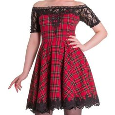 Amara Lace Red Tartan Gothic Dress by Spin Doctor ❤ liked on Polyvore featuring dresses, tartan dress, red plaid dress, gothic lolita dress, red off the shoulder dress and red tartan dress