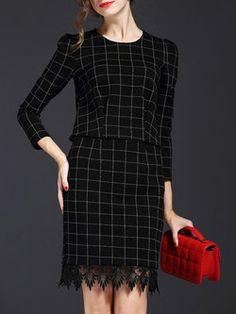 Black 3/4 Sleeve Cotton Two Piece Midi Dress