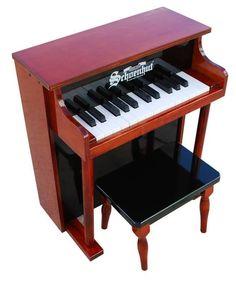 Schoenhut 25 Key Traditional Spinet Upright Piano - Mahogany/Black 6625MB