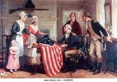 PAINTING OF BETSY ROSS & THE FIRST STARS & STRIPES 1777 BY DUNSMORE AMERICAN FLAG FLAGS REVOLUTIONARY WAR - Stock Image