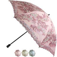 New Women Top Sun Rain /Anti UV/Embroidery Mesh Sequins Flower Umbrellas Parasol #SunCity23782 #foldingParasolUmbrella