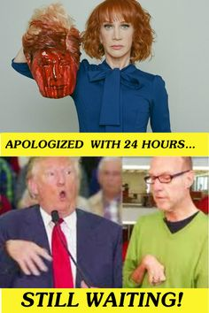 trump:beyond all human decency. Kathy Griffin was using a PROP to make a statement which I concur with. And, freedom of speech, artistic expression. Not like she's in a high political office.........