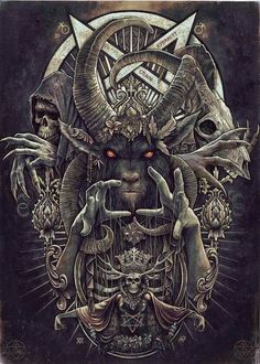 Christopher Lovell - Baphomet [Art - Illustration - Black and White] Dark Fantasy Art, Fantasy Kunst, Arte Horror, Horror Art, Art Noir, Satanic Art, Evil Art, Demon Art, Occult Art