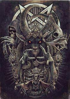 Christopher Lovell - Baphomet [Art - Illustration - Black and White] Dark Fantasy Art, Fantasy Kunst, Demon Art, Arte Horror, Horror Art, Art Noir, Satanic Art, Evil Art, Occult Art