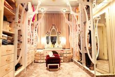 walkin closet with vanity | vanity in a closet is the perfect addition.