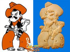 #Oklahoma St Mascot - OSU Tailgate Ideas - School Spirit Ideas - Custom Cookies - Edible Party Favors - Pistol Pete #mascot - Make your team's mascot into a cookie