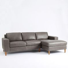 York 2-Piece Leather Chaise Sectional #westelm