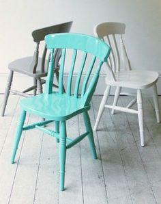 Painted chairs - aqua colour for love heart chair?