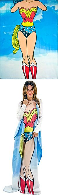 ~ FEEL THE POWER!~   Wonder Woman Fleece Blanket     https://theanimalrescuesite.greatergood.com/store/ars/item/51107/wonder-woman-fleece-blanket?source=12-51103-3    The most iconic female superhero of the past century is now your favorite lounging go-to. The beloved classic superhero Wonder Woman soars across our sky blue fleece throw, but with a twist -- your head and feet complete the image!