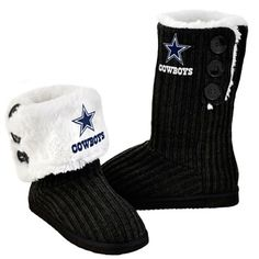 Dallas Cowboys Women's Black Knit High End Button Boot Slipper