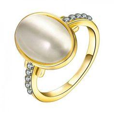 Anel Feminino Moda Oval Banhado a ouro Banhado a ouro rosa Banhado platina Liga Opala Diário - LKN18KRGPR624-7