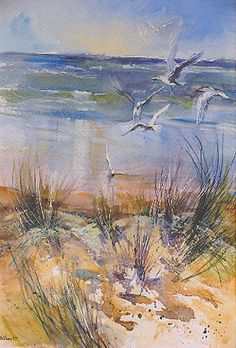 Wendy Jelbert Gallery love this i would happily sit on this beach and watch those sea gulls all day.