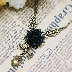 Vintage Wings and Black Flower Decorated Heart Pendant Women's Necklace