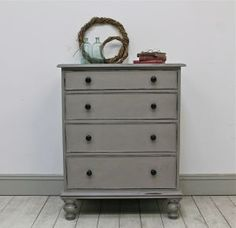 Distressed Painted Mahogany Four Drawer Chest. - For Sale | Distressed But Not…
