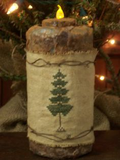 Primitive Sampler Christmas Tree Grubby Flicker Light Candle Stitchery