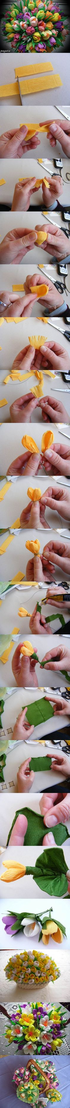 DIY  Centro de flores de papel http://www.icreativeideas.com/diy-beautiful-bouquet-of-crepe-paper-crocuses/