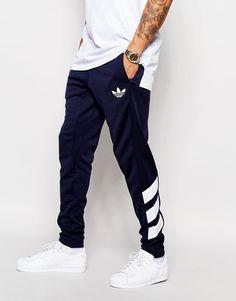 Mega fede adidas Originals Skinny Joggers AJ7672 - Blue adidas Originals Bukser til Herrer i luksus kvalitet