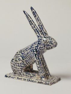 grayson perry Ive seen this - unbelievably sweet ceramic It is covered in a prayer for a child, and is shaped like the soft toy a child would take to bed with them click now to see more. Ceramic Clay, Ceramic Pottery, Pottery Art, Ceramic Animals, Clay Animals, Sculptures Céramiques, Sculpture Art, Pottery Sculpture, Bunny Love
