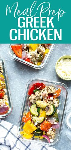 These Sheet Pan Greek Chicken Meal Prep Bowls are a low carb make ahead lunch idea seasoned with a simple lemon-oregano marinade, and they're ready in just 30 minutes! Good Healthy Recipes, Whole Food Recipes, Vegan Recipes, Lunch Recipes, Delicious Recipes, Chicken Meal Prep, Chicken Recipes, Clean Eating Recipes, Healthy Eating