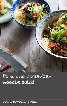Pork and cucumber noodle salad Quick Salad Recipes, Carrot Salad Recipes, Bean Salad Recipes, Cucumber Recipes, Garlic Recipes, Noodle Recipes, Pork Recipes, Easy Recipes, Cucumber Salad