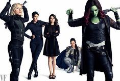 Nat, Maria Hill, Laura Barton, (the) Valkyrie, and Gamora. Great to see Hill again, and super interesting that Laura is included seemingly prominently!
