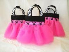 Minnie Mouse Themed Party Favor Tutu Skirt Bags with Zebra Ribbon Handles. super girlie and Zebra Party Favors, Party Favor Bags, Birthday Party Favors, Birthday Ideas, Gift Bags, Party Favours, Goody Bags, Treat Bags, 2nd Birthday