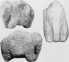 Mammoth figurine no. 2, sandstone, from New Avdeevo. Photo: M. Gvozdover, 'Art of the Mammoth Hunters'.