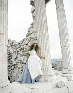 Jennifer Lopez during a photo shoot at the Acropolis Wedding Pins, Blue Wedding, Wedding Colours, Wedding Photos, Jennifer Lopez, Shades Of White, Blue And White, Greece Wedding, Black N White Images