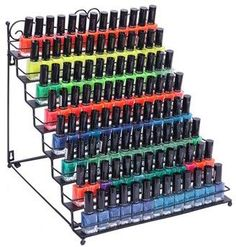 8 Tier Nail Polish Display Rack Stand Salon Tool Organizer Metal Ad- Perfect for my salon! #nails #nailtech #nailsalon Nail Polish Wall Rack, Nail Polish Bottles, Wall Organization, Makeup Organization, Essential Oil Rack, Makeup Shelves, Gifts For Female Friends, Spice Rack Organiser, Wood Nails