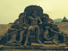 Sculpture for the Zhoushan park. Poseidon 'judging' the competition pieces that will be sculpted by local artists.