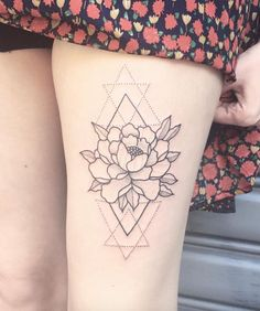 Geometric peony design by Daredevil Tattoo