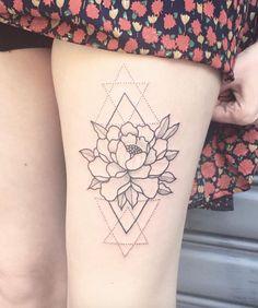 Geometric peony design by Daredevil Tattoo