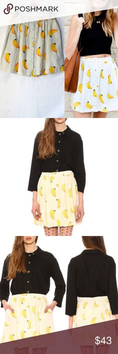 NWT Pepaloves Modcloth Banana Mini Skirt New with tag Pepaloves  button closure front mini length Soft woven fabric Button front Elastic waistband Banana print throughout 100% Polyester Machine wash Size xs (would fit s as well) Pepaloves Skirts Mini