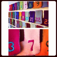 Advent Calendar.  Embroidered stockings.