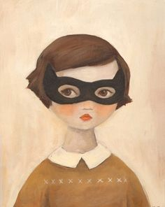 Girl with mask It's kind of vintage looking.  You won't be needing Catwoman masks. You can be Catwoman by doing Asymya :)