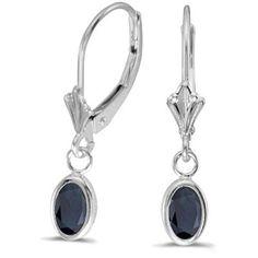 14k White Gold September Birthstone Oval Sapphire Bezel Lever-back Earrings