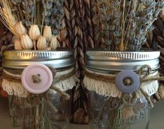 Rustic Wedding Mason Jars 0.5 pint, embellished with ribbon, twine, burlap, lace and a button choice.