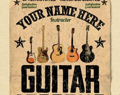 YOUR NAME on a guitar shop poster Personalized by posterloco