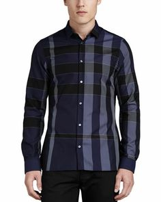 Iconic Check Sport Shirt, Navy by Burberry London at Neiman Marcus.