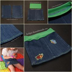 How to Make Demin Skirt from Old Jean in 4 Steps - DIY Tutorials - Bricolage Kleidung Upcycle Sewing Kids Clothes, Sewing For Kids, Baby Sewing, Diy Clothes, Demin Skirt, Clothes Refashion, Recycle Jeans, Old Jeans, Little Girl Dresses