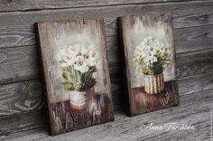 """Купить """"Белые цветы"""" пара интерьерных панно - коричневый, панно, панно декупаж, панно из дерева"""