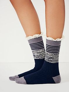 Nautical Heathered Highland Boot Sock | Lace-trimmed heathered boot socks with ribbing and stripes.  *By Free People