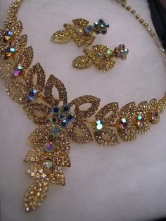 Vintage Aurora Borealis Crystal Choker Necklace Earrings Wedding Prom Formal Set #unbranded #Choker