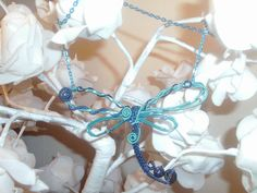 Shade of Blue Dragonfly statement necklace by DragonflyHJewellery