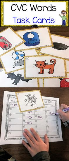 Reading and Writing CVC Words, Writing center, kindergarten, first grade, task cards, scoot game