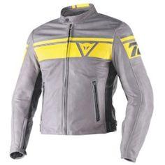 dainese_blackjack_leather_jacket_grey_black_yellow_detail Best Deal Dainese Blackjack Leather Jacket (Color: Grey/Black/Yellow / Size: 44)