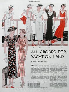 1935 Summer Dress Patterns Ad - Womens Vacation Clothing - Flowing Skirts - Ladies Hats - 1930s Womens Fashion Prints - Vintage Sewing Ad