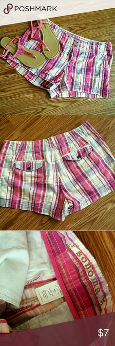 Cute Seersucker Pink Plaid Shorts Cute summer shorts in a fun summer Seersucker material featuring a pink plaid. PRICE IS FIRM.   Smoke free home. Open to reasonable offers unless marked as firm.  Please no trades or low balls. Happy Poshing!! Sonoma Shorts